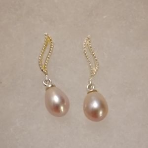 Vintage Silver Linear with Pink Pearls Earrings